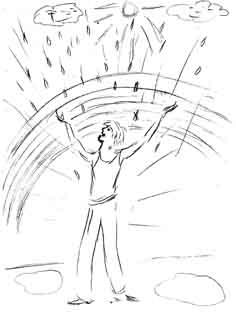 Психологический рисунок человек под дождём